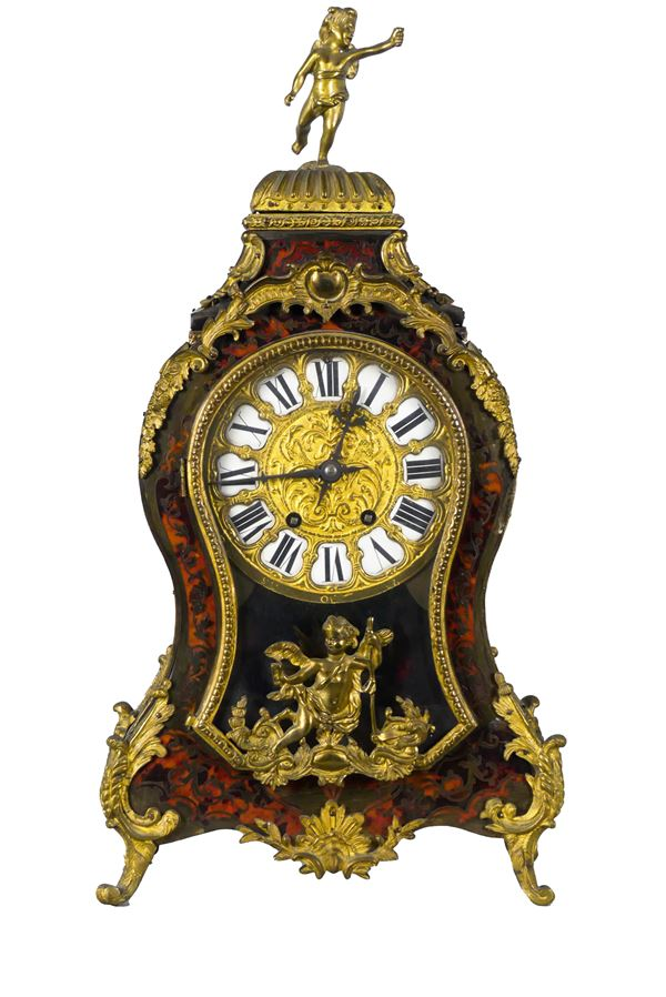 French Napoleon III table clock in red tortoise