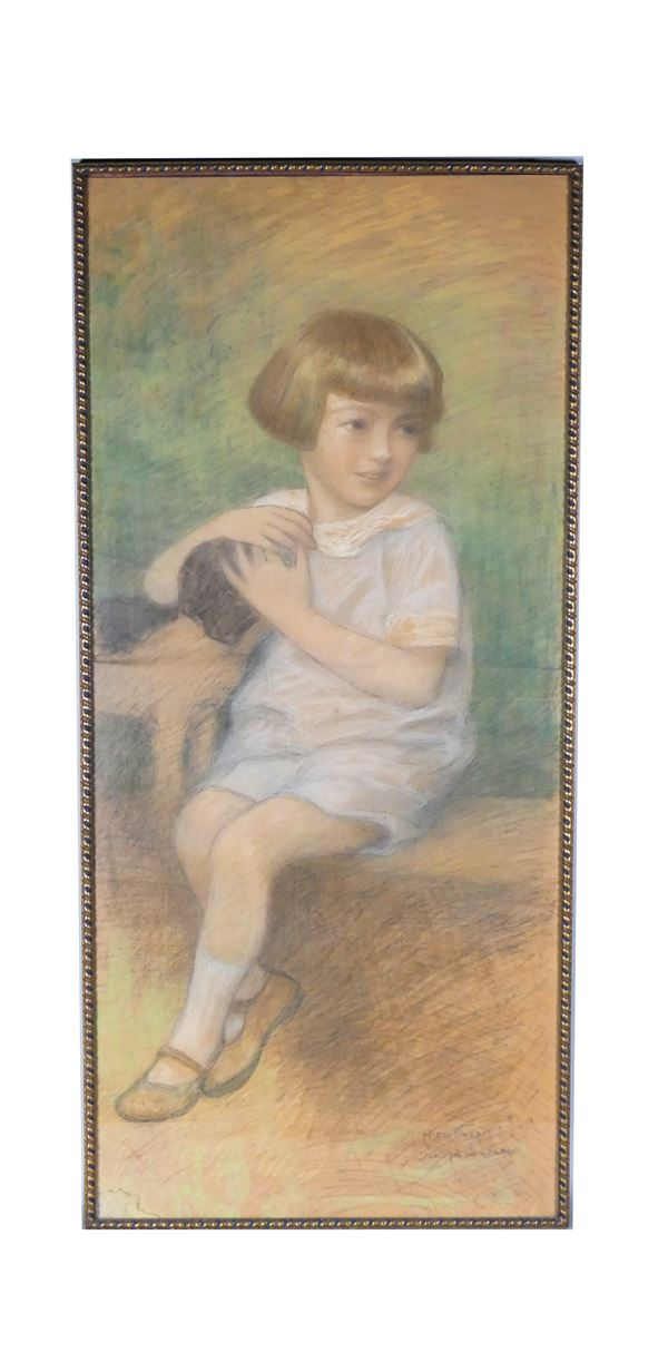 """Alessandro Viazzi - """"Little girl with a little dog"""", study for a portrait"""