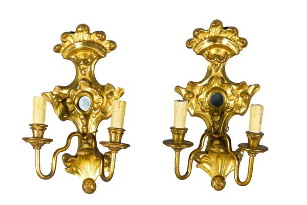 Pair of Louis XIV line gilded wood appliques