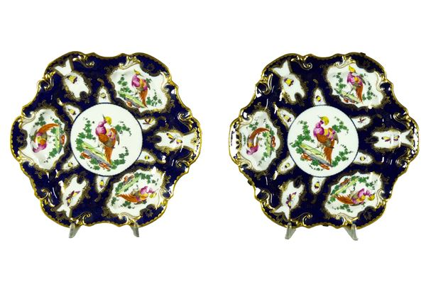 Coppia di Piatti da muro in porcellana bianca e blu a forma tonda centinata