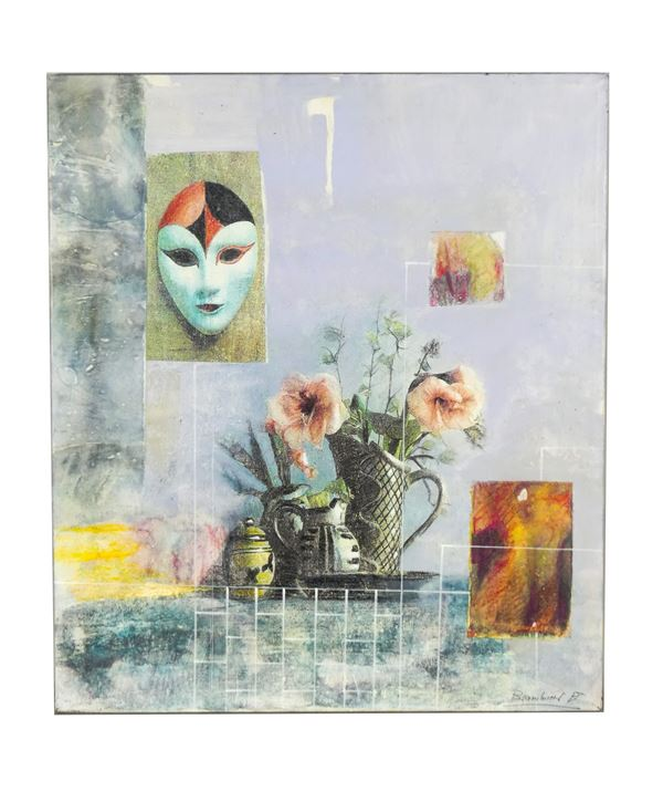 """Arte Contemporanea - """"Abstract still life with flowers and mask"""""""