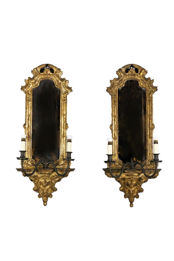 Pair of mirrors in gilded and silvered wood in mecca