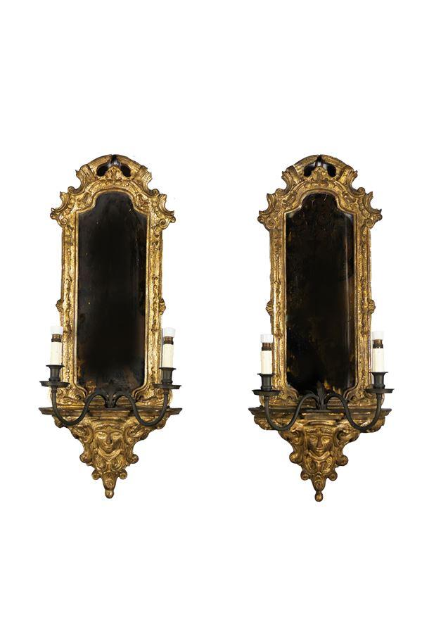 Coppia di Specchiere in legno dorato e argentato a mecca