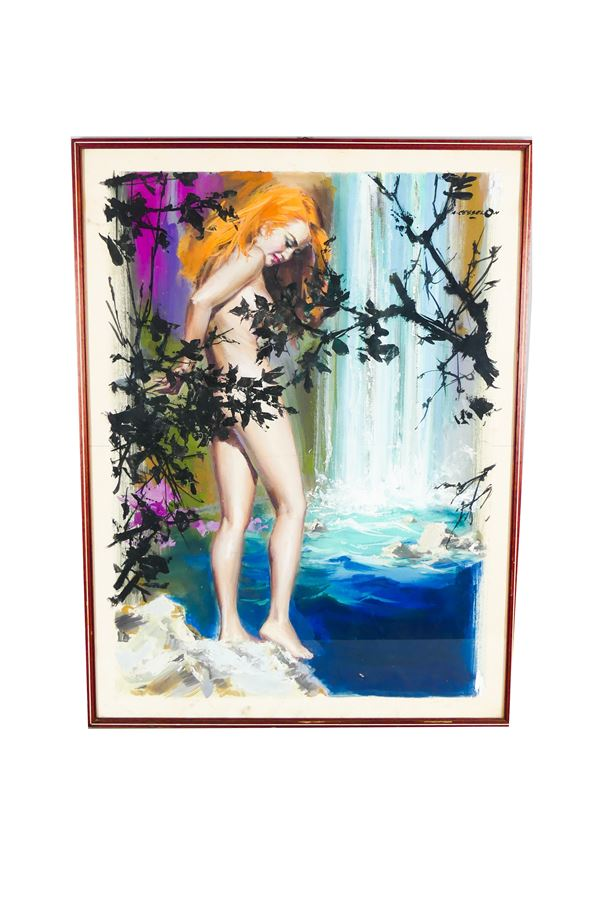 """Angelo Cesselon - """"Naked girl at the waterfall"""". Signed."""
