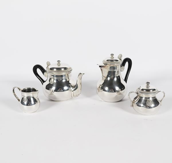 French tea and coffee set in silver (4 pcs). Gr. 1070