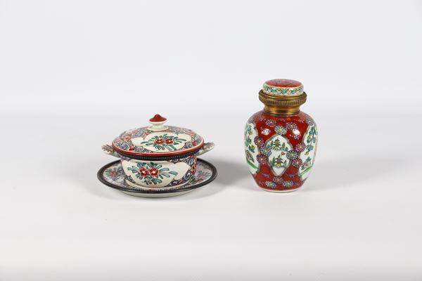 Lotto in porcellana di una Tazza da puerpera con piattino e una Potiche cinese