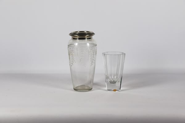 Lot of two crystal vases