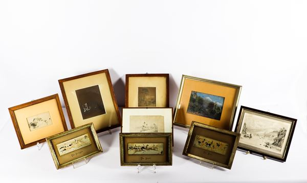 Lot of nine small drawings and engravings on fabric