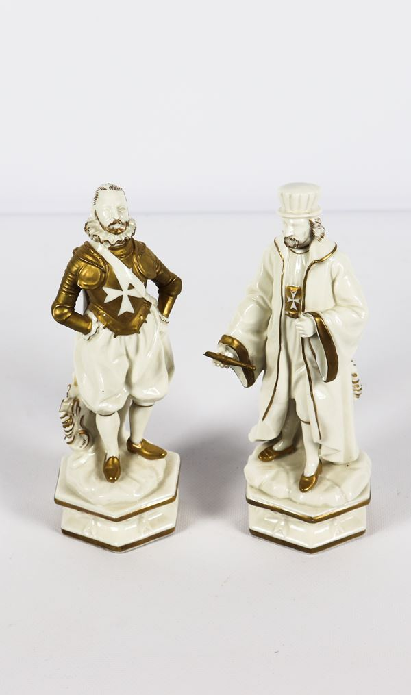 """Pair of white and gold porcelain figurines """"Knight and notable"""""""