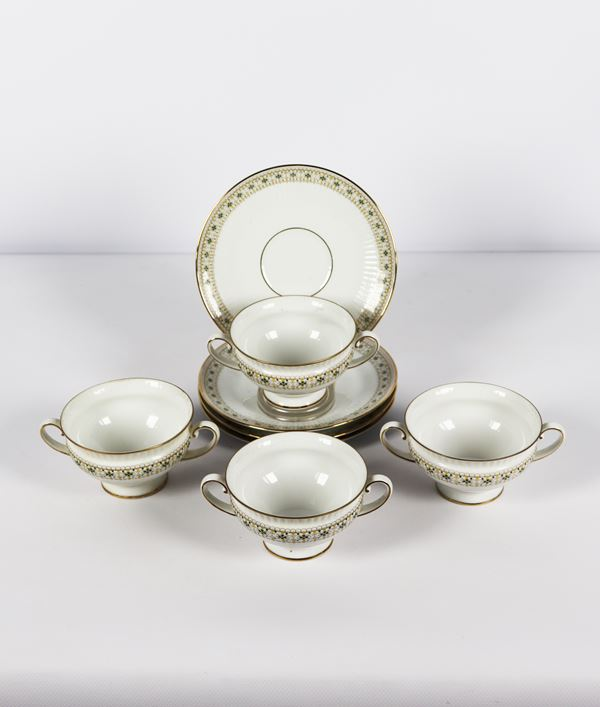 Bavaria porcelain lot of four broth cups with saucers