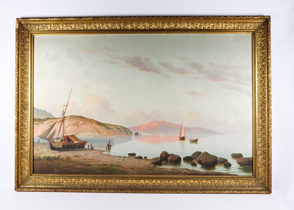 "Bogliolo F. (Artista Italiano XIX Secolo) - ""Marina with boats and fishermen"". Signed."