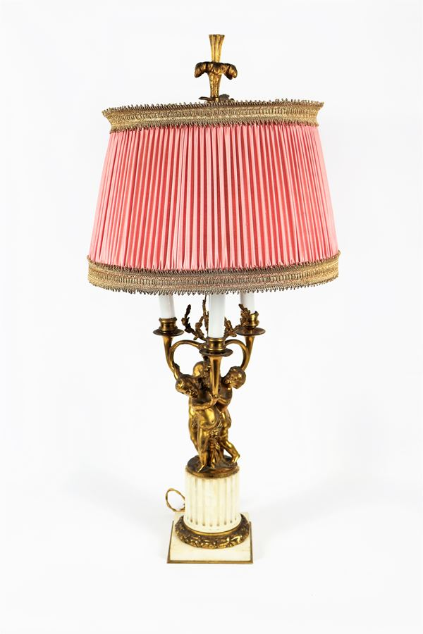 French candelabra of Louis XVI line in gilded bronze