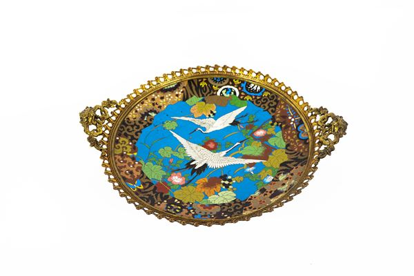 Chinese stand in cloisonné enamels and bronze