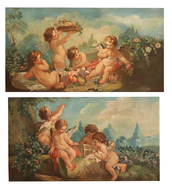 "Scuola Romana Metà XVIII Secolo - ""Allegories of Cheering Putti"" pair of oil paintings"
