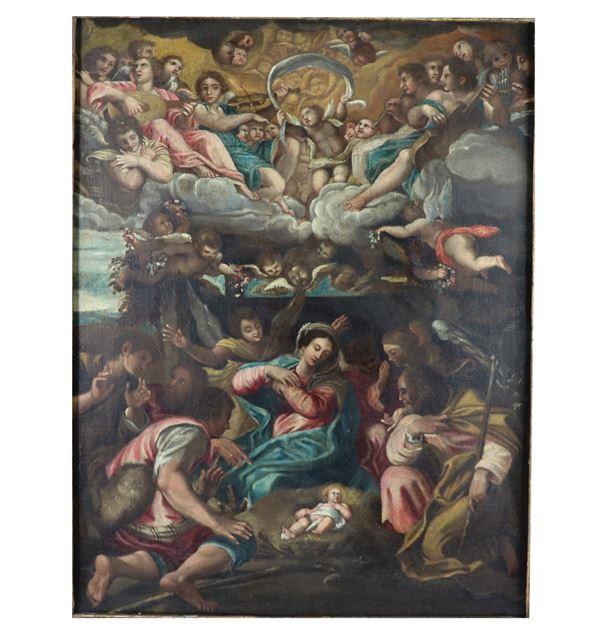 "Scuola Emiliana Fine XVII Secolo - ""The Nativity"" oil painting on canvas"