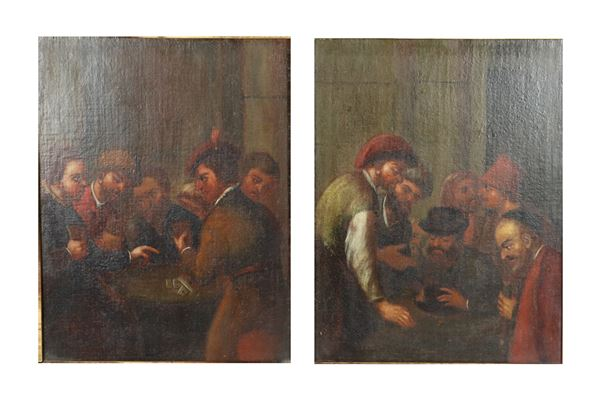 "Scuola Italiana Inizio del XIX Secolo - ""Inn interior with card players"" pair of small oil paintings on canvas"