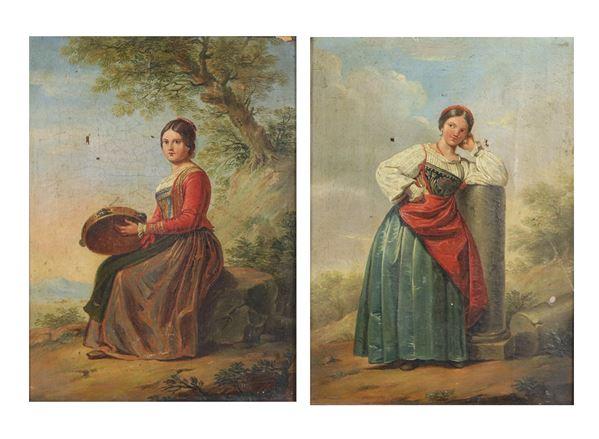"""Luciani G.B. (attivo Metà XIX Secolo) - """"Ragazze in costume di Gaeta"""" coppia di piccoli dipinti ad olio su tela"""