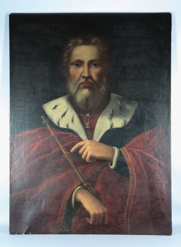 "Maestro Veneto Fine XVII Secolo - ""Portrait of a Ruler"" oil painting on canvas"