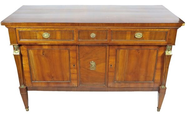 Tuscan Empire sideboard in walnut and gilded bronzes