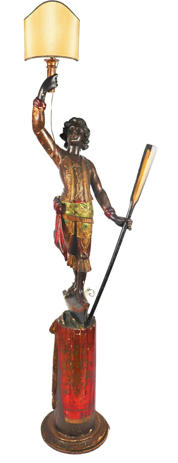 """Antique Venetian """"Moretto"""" sculpture in lacquered and gilded wood"""