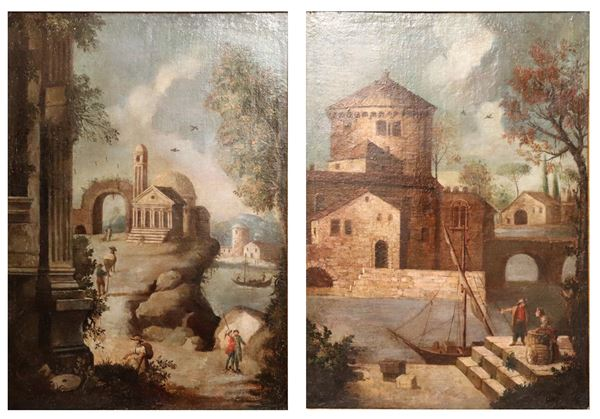 "Maestro Veneto Fine XVII Secolo - ""Views of villages with ruins, harbor and characters"" pair of oil paintings on canvas"
