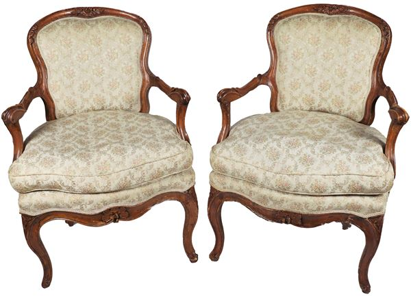 Pair of Louis XV Venetian armchairs in pickled walnut