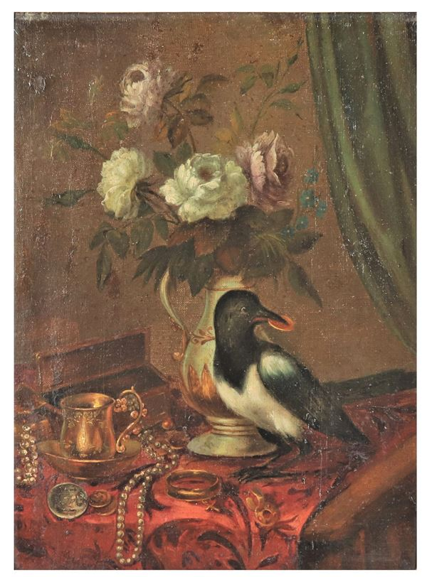 "Maestro Fiammingo Fine XVII Secolo - ""The magpie with a vase of flowers and jewels"" oil painting on canvas"