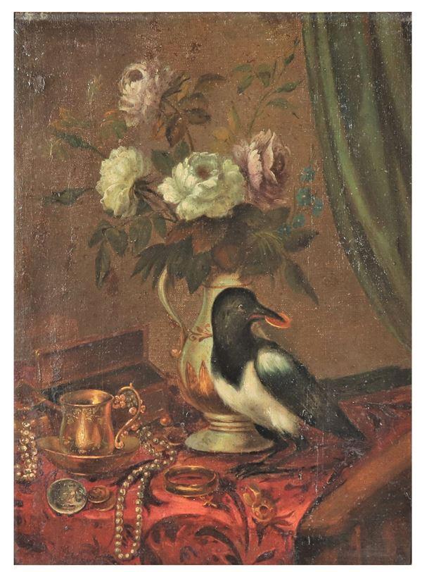 """Maestro Fiammingo Fine XVII Secolo - """"La gazza ladra con vaso di fiori e gioielli"""" dipinto ad olio su tela"""