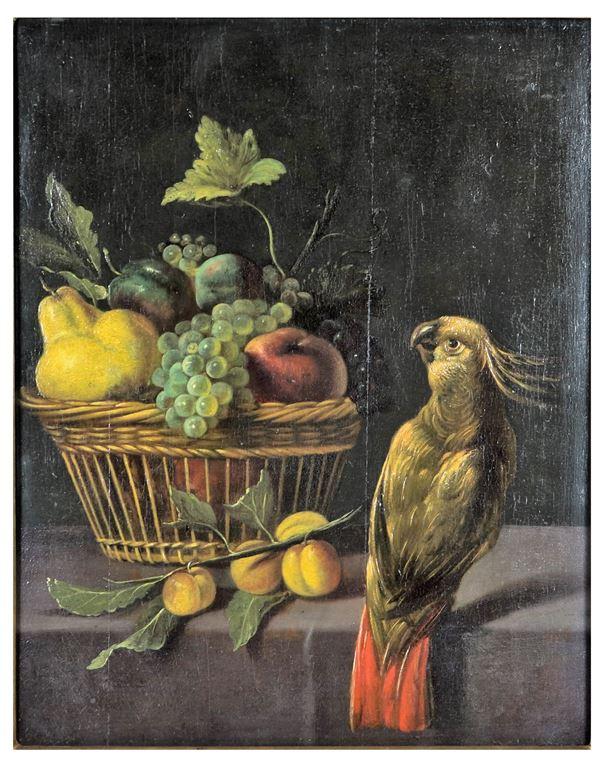 """Melchior de Hondecoeter - """"Natura morta di frutta con cesto e pappagallo"""" dipinto ad olio su tavola"""
