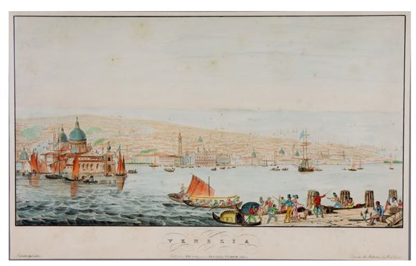 """Watercolored etching on paper """"View of Venice with the lagoon"""""""