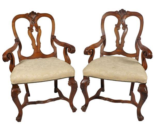 Pair of Louis XV Venetian armchairs in walnut