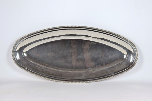 Large oval fish bowl in sterling silver 925 gr 1490