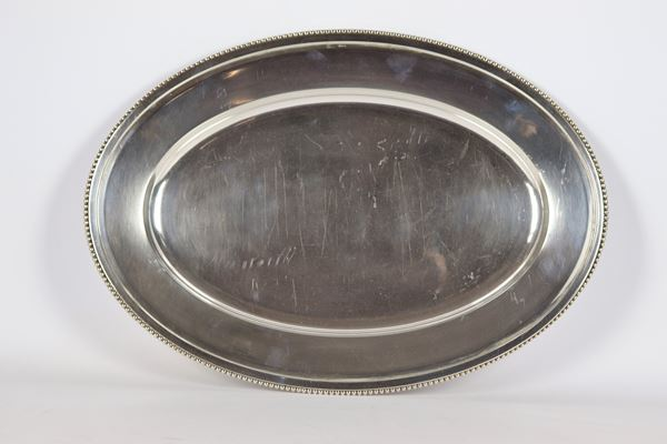 Large oval serving dish in silver gr 1320
