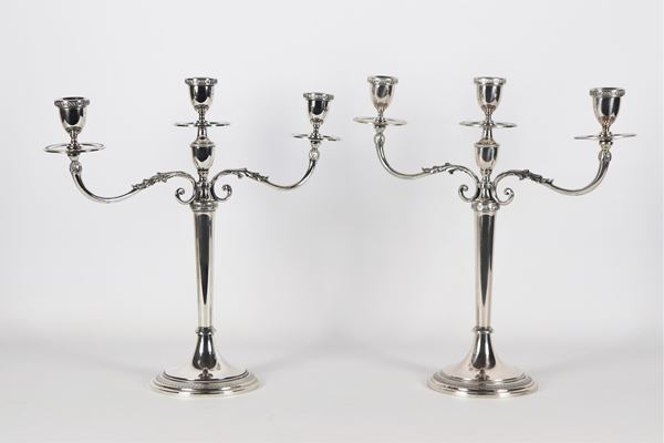 Pair of three-flame candelabra in silver gr 1150