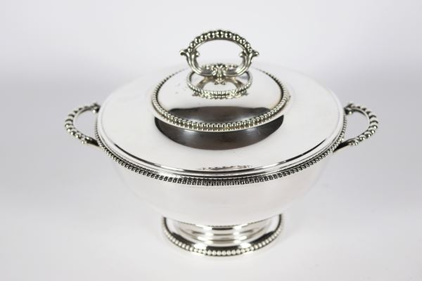 Silver tureen with lid and handles 1480 g