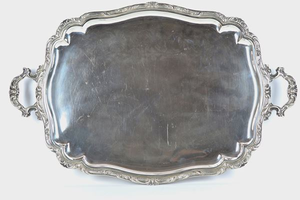 Large rectangular silver tray with two handles 2200 gr