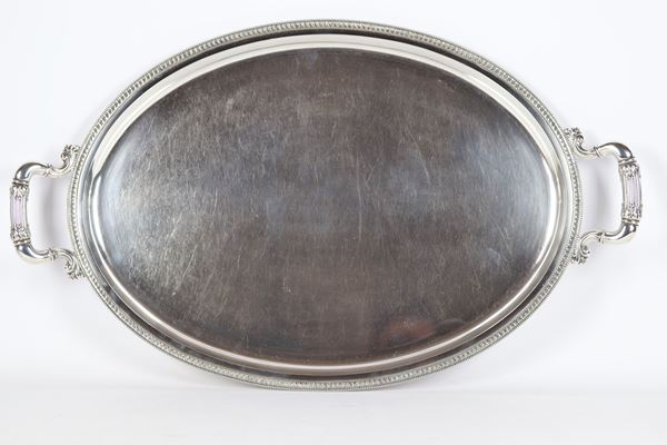 Large oval silver tray with two handles gr 2100