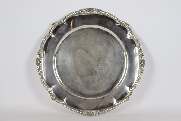 Round tray with ribs in silver gr 1350