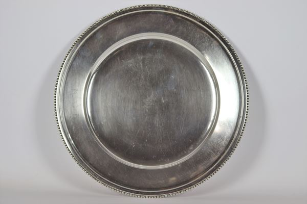 Round tray in silver 990 gr