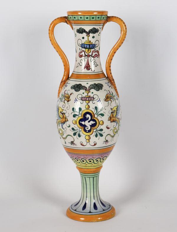 Amphora in glazed and glazed majolica marked Fantechi Ceramiche - S.I.F.M.A.