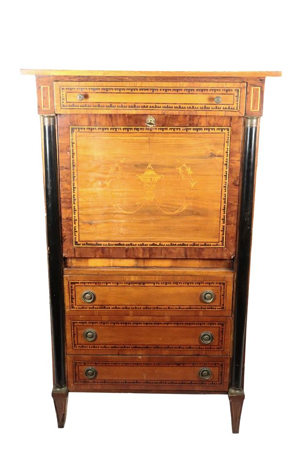 Empire line Lombard secretaire in walnut with inlays