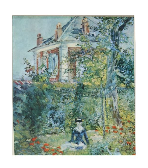 "Colored print ""View of villa with park and lady"""