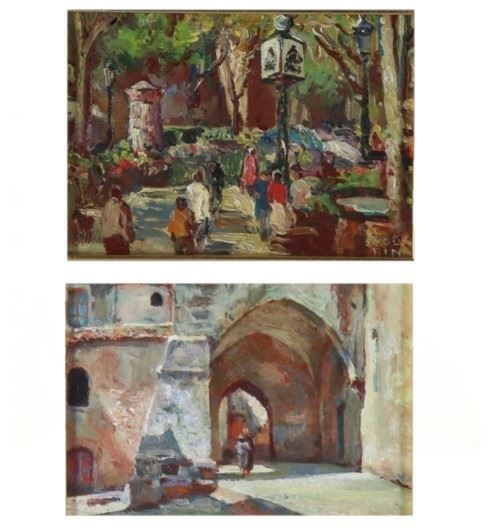 """Pittore Italiano Inizio del '900 - """"Walk in the flowery park"""". Signed, small oil painting"""