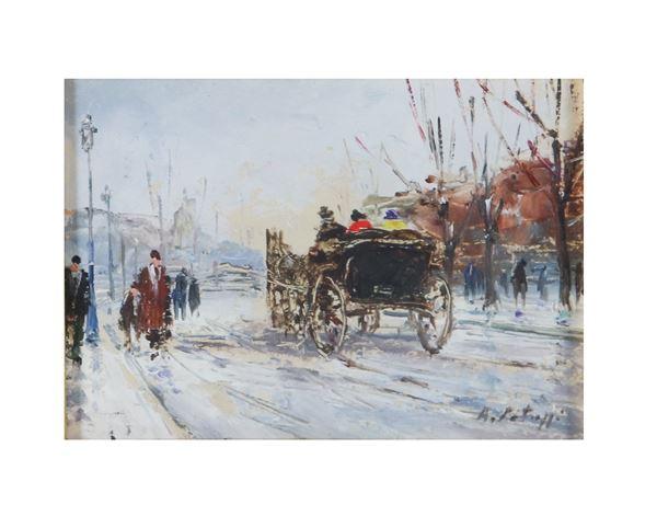 """Pittore Italiano Inizio del '900 - """"Carriage ride in winter"""". Signed, small oil painting"""