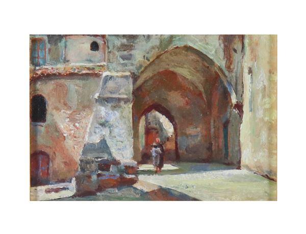 """Scuola Italiana Inizio del '900 - """"Glimpse of village alley with commoner"""" small oil painting"""