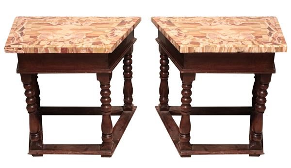 Pair of antique Bolognese consoles in walnut with Palombara alabaster marble tops