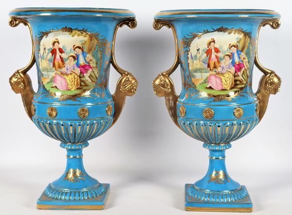 Pair of French porcelain krater vases