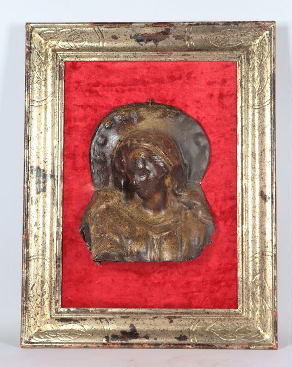 "Antique high-relief ""Madonna"" in patinated papier-mâché"