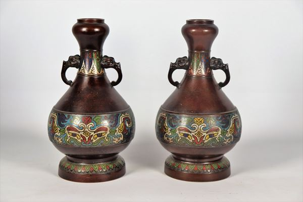 Pair of Chinese vases in bronze and cloisonné enamels