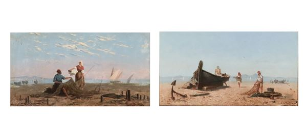 "Frank William Warwick Topham - ""Views of the Gulf of Naples with boats and fishermen on the beach"". Signed, pair of oil paintings on wood"